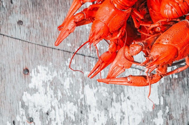 Hot delicious crayfish with a plate on rustic background. delicious red boiled crayfishes on table, closeup. banner design