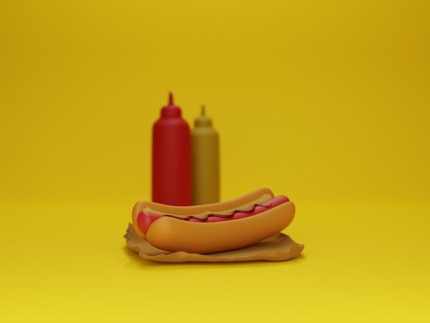 Модель хот-догов и соусов с желтым фоном в 3d дизайне