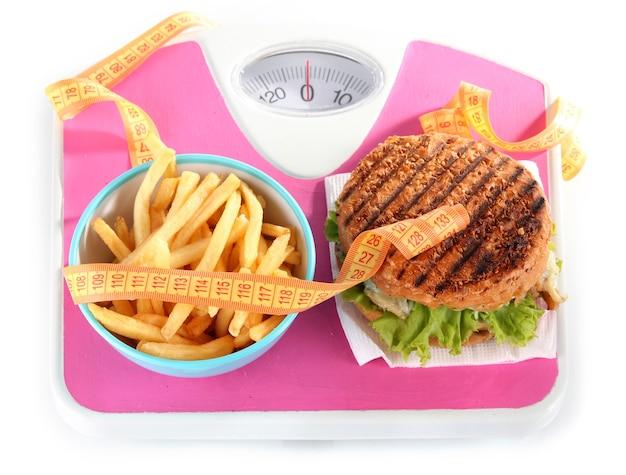 Хот-дог, гамбургер и картофель на весах, изолированные на белом