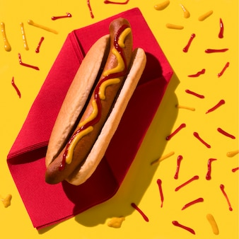 Hot dog and ketchup top view
