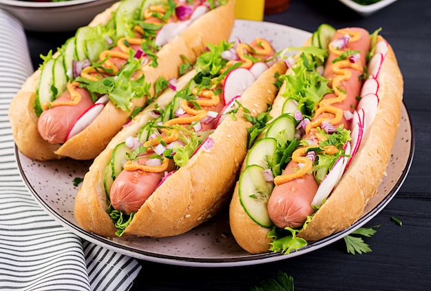 Hot dog with  sausage, cucumber, radish and lettuce on dark wooden table. summer hotdog.