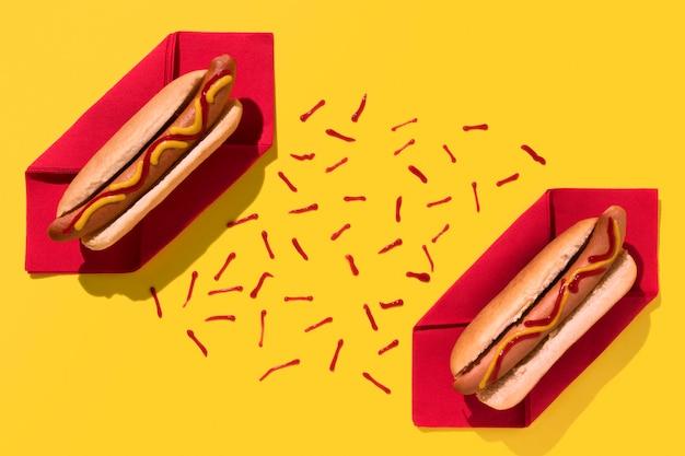Hot dogs and ketchup flat lay
