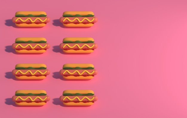 Hot dogs on a pink background