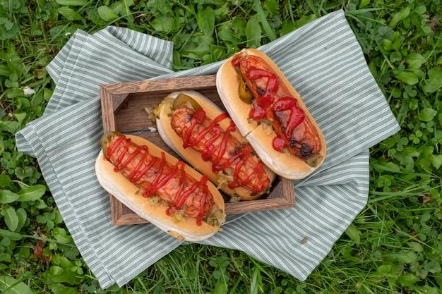 Хот-доги с горчицей, кетчупом на столе для пикника