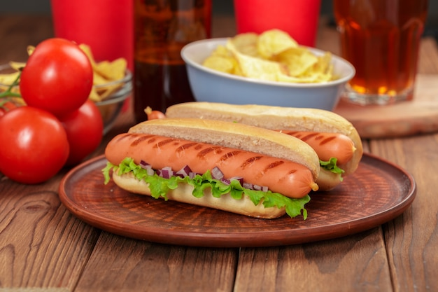Hot dogs on wooden