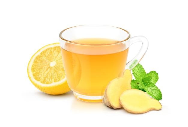 생강 뿌리 줄기 (뿌리) 슬라이스, 레몬, 민트 잎 절연 뜨거운 생강차