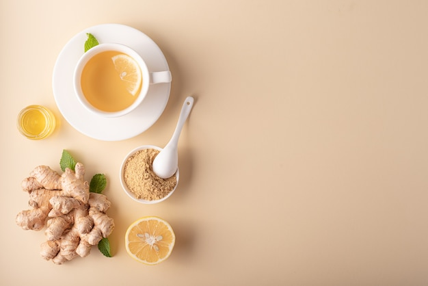 Hot ginger tea with honey lemon and mint