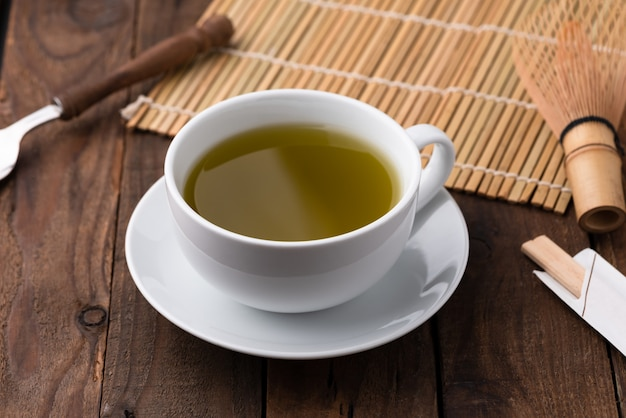 Hot green tea in cup on wood