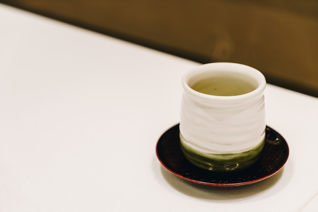 Hot green tea cup