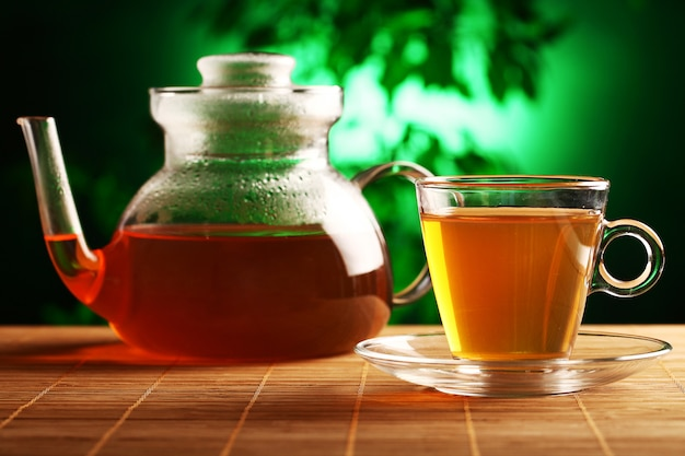ガラスのティーポットとカップで熱い緑茶