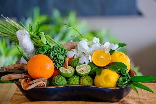 Hot herbal compress ball made form thai herbs, thai massage concept