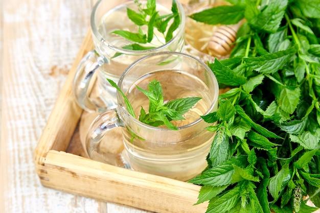Горячий травяной чай с мятой в стеклянной кружке