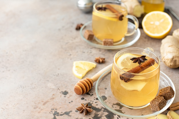 Hot herbal tea with lemon and spices