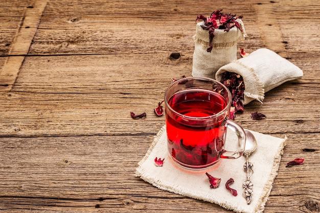 Hot hibiscus tea with dry petals