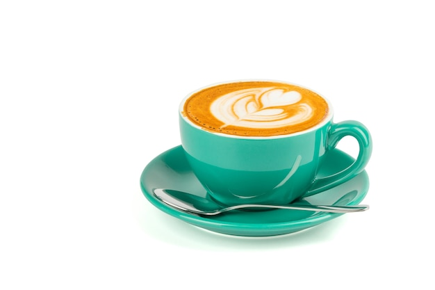Hot latte coffee with latte art isolated on white background, clipping path inside.