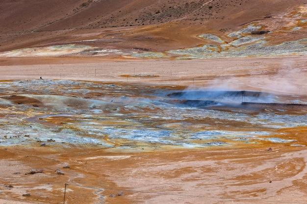 アイスランドの地熱地帯hverirのホットマッドポット。横ショット