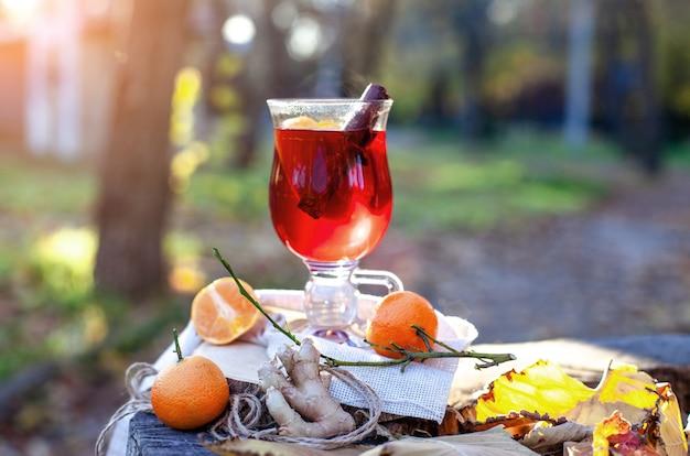 ガラスのホットホットワイン秋の公園でのoutdorsピクニックgluhweinホットワインの水平写真