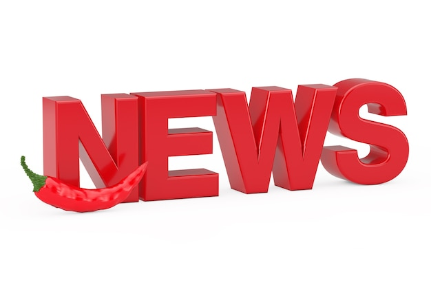 Hot news concept. red chili pepper near news sign on a white background. 3d rendering