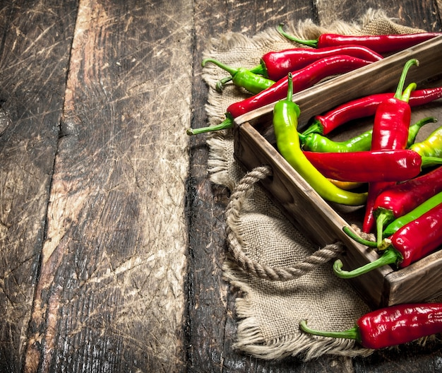 Hot pepper in an old tray. on a wooden background.