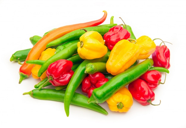 Hot peppers on white