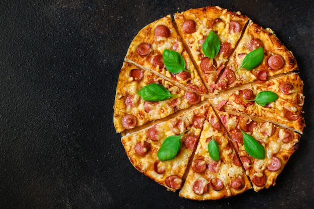 Hot pizza top view.