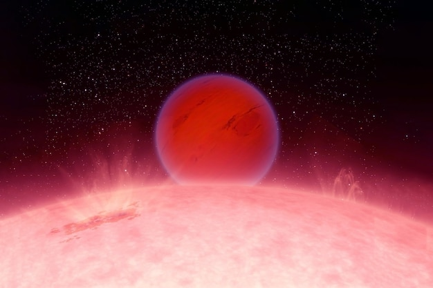 A hot planet next to a star. elements of this image were furnished by nasa. for any purpose.