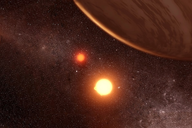 A hot planet next to two suns. elements of this image were furnished by nasa. for any purpose.