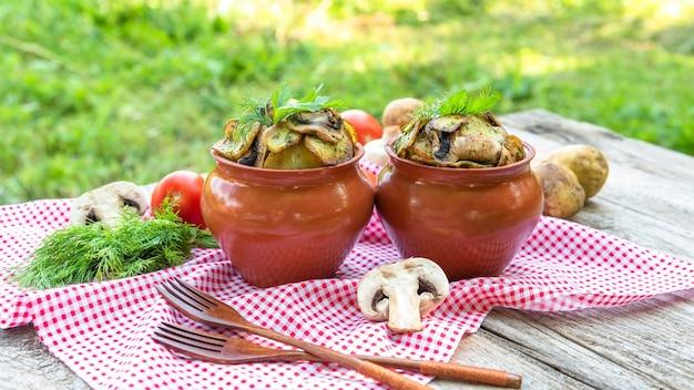 Горячий картофель с грибами в глиняных горшочках со специями. в природе.