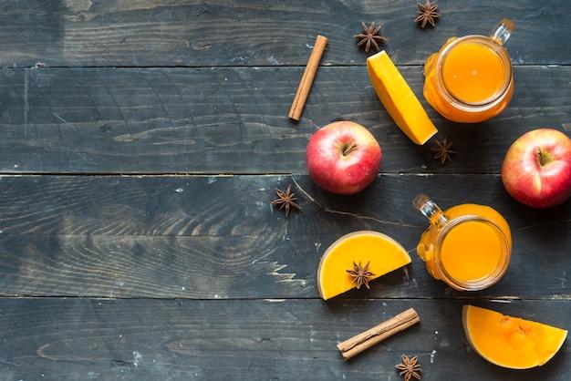 Hot pumpkin sangria with apple, cinnamon and star anise