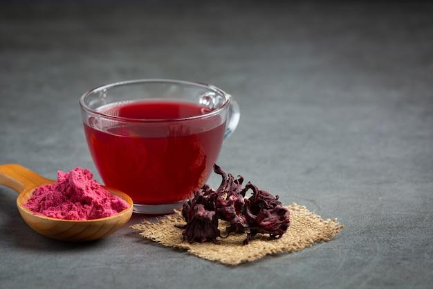 Hot rose tea on table