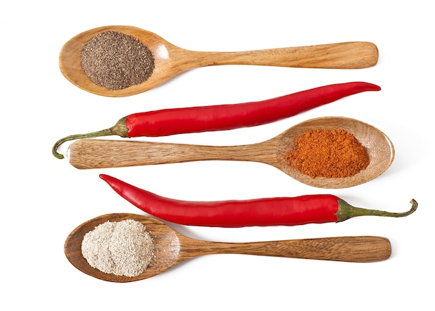 Hot spices in wooden spoons