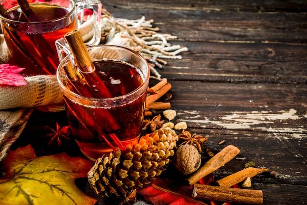 Hot spicy autumn tea