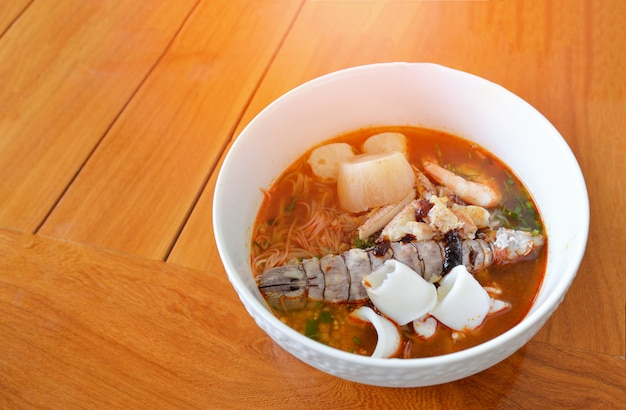 Hot and spicy thai food spicy noodle seafood soup