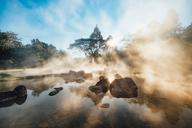 Hot spring pool in morning sunrise