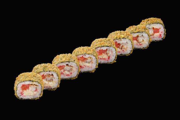Hot sushi roll eel, mozzarella cheese, tomato, japanese mayonnaise, tobiko caviar. isolated