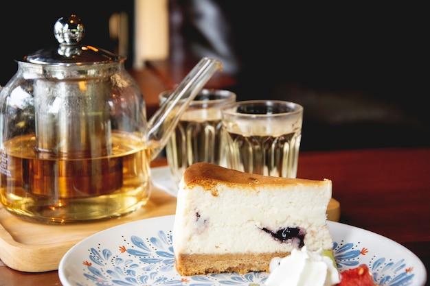 Hot tea and cheesecake