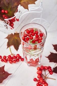 Горячий чай у осенних листьев с ягодой калины, розмарином