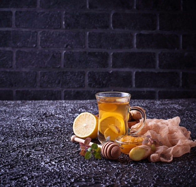 Hot tea with ginger, lemon, mint and honey