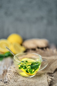 Hot tea with lemon, ginger and mint