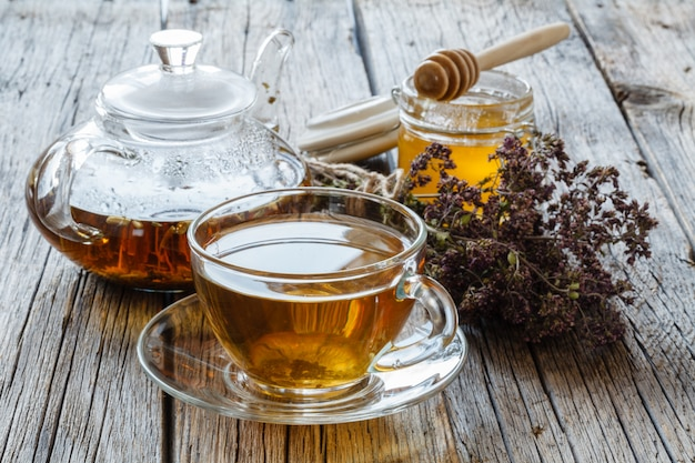 Hot tea with lemon and honey. beverage for ill people with vitamins and spices