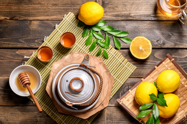 Hot tea with lemon and natural honey,