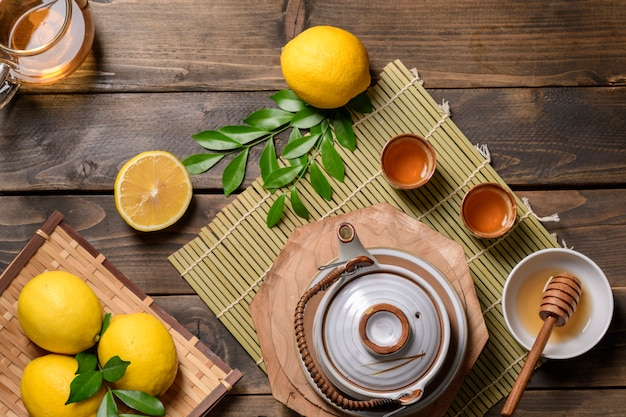 Hot tea with lemon and natural honey