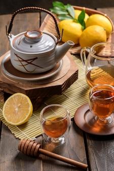 Hot tea with lemon and natural honey