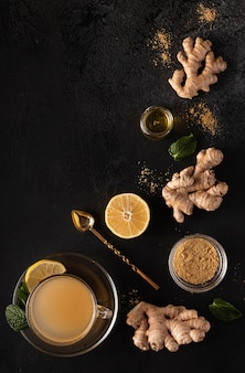 Hot vitamin drink made from ground ginger, lemon, and honey
