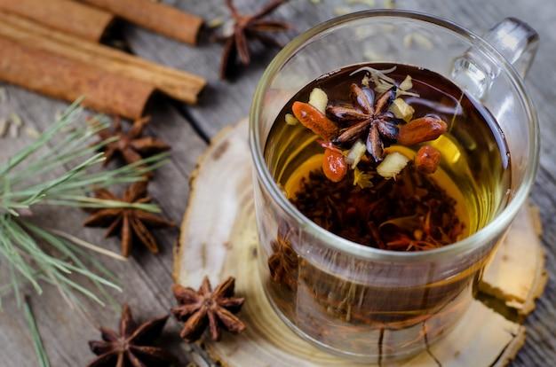 Горячий зимний чай с анисом и ягодами годжи