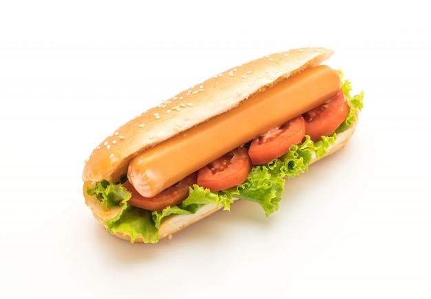 Hotdog with sausage and tomato