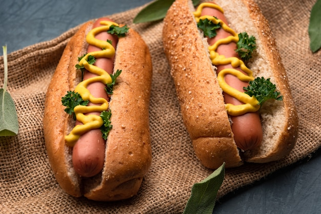 Hotdog with sausage