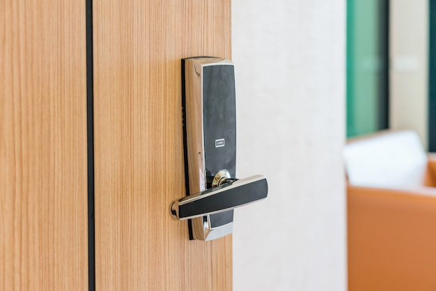 Hotel or apartment bedroom door used digital door lock for access control.