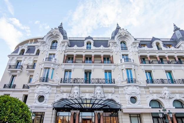 Hotel de paris facade at sunset