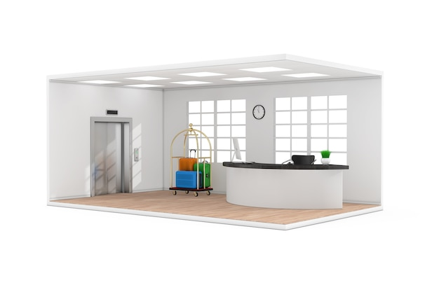 Hotel lobby hall interior with reception desk,  window, suitcases in golden luxury luggage trolley cart, modern elevator and wooden parquet floor on a white background. 3d rendering